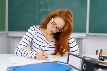junge lehrerin macht sich notizen