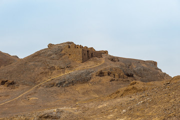 Iranian mountains and the tower of silence in Yazd