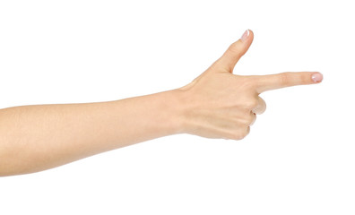 Woman's hand pointing isolated