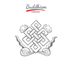 Endless knot. Symbol of Buddhism. Spirituality,Yoga print. Vector hand drawn illustration. Sketch style