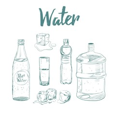 Water collection . Vector hand drawn illustration