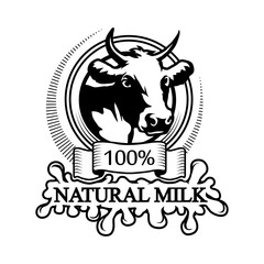Logo 100% natural milk. Trademark with a cow head. Black silhouette of a bull. Professional label