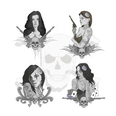 Vector set of beautiful girls. Women in Chicano style standing in different poses.Girls tattoo with weapons