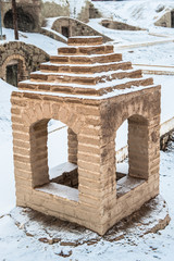 Ancient workshop for weaving in snow in winter, Naein, Iran