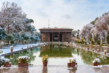 Chehel Sotoun (Forty Columns) is a pavilion in the middle of a park at the far end of a long pool, in Isfahan, Iran, built by Shah Abbas II. UNESCO World Heritage Site