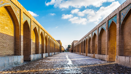 Khaju Bridge, arguably the finest bridge in the province of Isfahan, Iran. It was built by the Persian Safavid king, Shah Abbas II, around 1650 C.E.