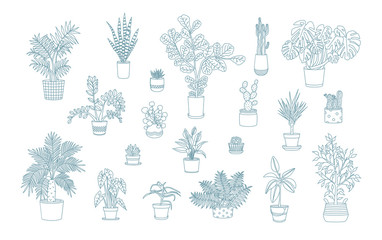 Different monochrome houseplants icons in line art style.