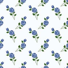 Seamless background image colorful botanic flower leaf plant blue rose