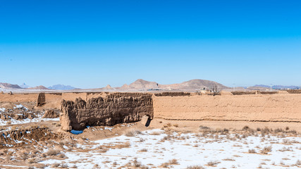 Iranian province of Isfahan, abandoned village called Murche Hort in winter.
