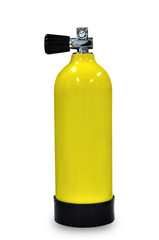 Yellow scuba tank full oxygen sport equipment isolated on white background clipping path included.