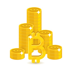 Column gold bitcoins stacks. Heap of gold bitcoins and bitcoin signs for designers and illustrators. Gold stacks of pieces in the form of a vector illustration