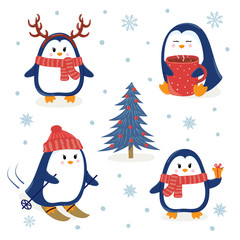 Cute penguins set. Merry Christmas and Happy New Year greetings. Vector illustration.