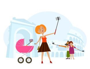 People, mother and baby, adult couple making selfie in Italy with local landmarks on background, flat cartoon vector illustration. Mother and baby, couple making selfie on vacation in Italy