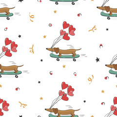 Seamless pattern with cute dachshund and heart ballons. Vector holiday background. Valentines day.