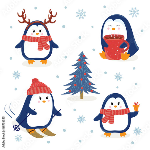 cute penguins set merry christmas and happy new year greetings vector illustration