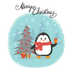 Merry Christmas card with cute cartoon penguin. Happy New Year vector illustration for greeting cards design, print, posters.