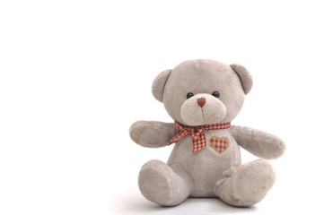 Grey bear doll siting on white background.