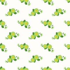 Seamless background image colorful botanic flower leaf plant green daisy
