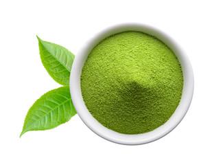 Spoed Foto op Canvas Kruiderij green tea powder in a bowl on white background