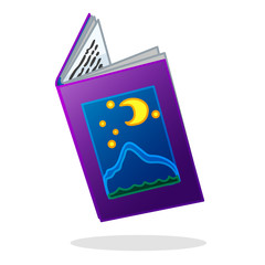 vector cartoon object illustration. Old open book of fairy tales.