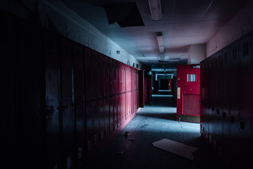 Hallway with Red Lockers and Doors - Vintage, Abandoned School