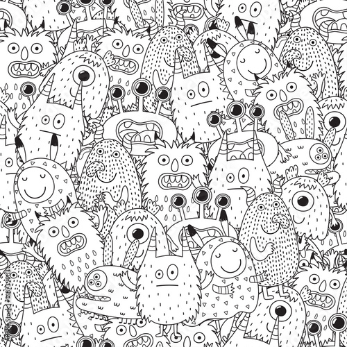 Funny monsters seamless pattern for coloring book. Black and white ...