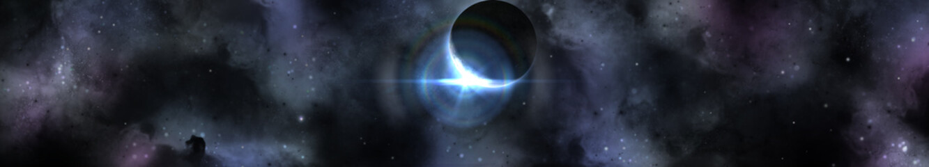 Eclipse of the sun, sunrise of the star, panorama of the universe, 3D rendering