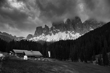 Rainy clouds over mountains. Dolomites Italian Alps