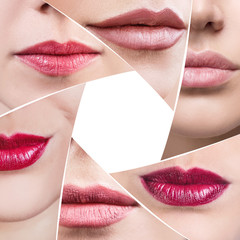 Collage of perfect female lips in diaphragm shape