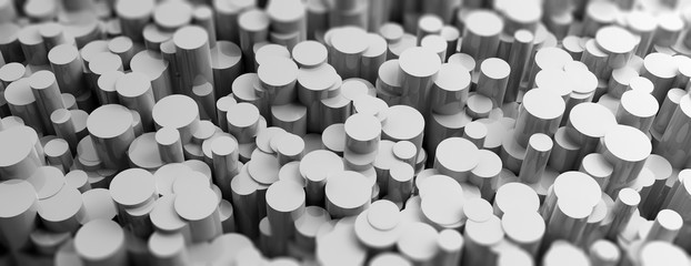 Grey cylinders abstract background. 3d illustration