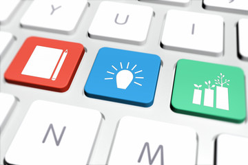 Good Business Ideas Icons in Different Colors on Computer Keyboard
