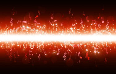Music Notes Red Poster