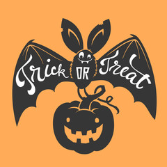 Funny cartoon smiling bat with spread wings and Trick or Treat lettering carrying carved Halloween pumpkin against orange background. Vector illustration for party invitation, festive banner, poster.
