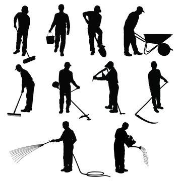 Garden worker silhouettes.