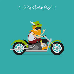 Oktoberfest beer festival. Man in traditional bavarian costume  rides the motorcycle. inscription Oktoberfest. Vector illustration