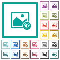 Adjust image saturation flat color icons with quadrant frames