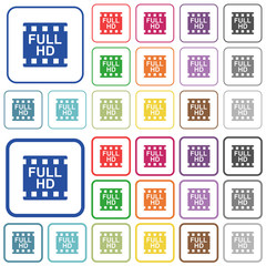 Full HD movie format outlined flat color icons