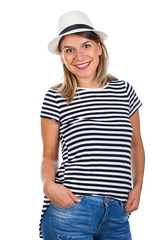Happy young woman with striped shirt and hat