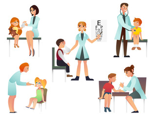 Kids visit a doctor cartoon flat vector illustration. Pediatrician and examine a patient. Isolated on white background