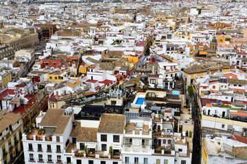 Aerial view of the city of Seville from the Giralda