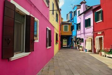 Colorful Burano street view