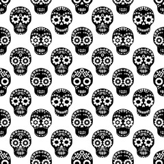 Vector seamless pattern for Halloween with black floral skulls on white background for textile and product design