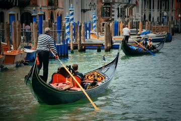Printed kitchen splashbacks Gondolas Gondola in canal in Venice