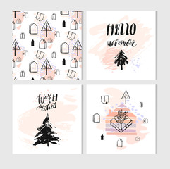 Hand drawn vector abstract Christmas greeting cards