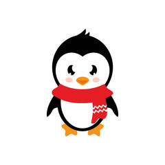 cartoon penguin with scarf