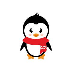 cartoon penguin with scarf