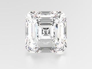3D illustration asscher diamond stone
