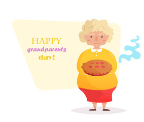 Grandma with pie. Vector.