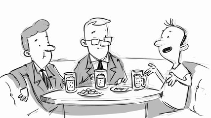 Three man at a table. Business lunch or lunch with friends. Vector sketch for storyboard, projects, cartoon