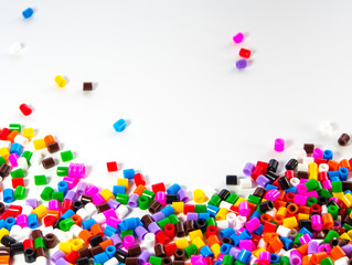 Texture of multicolor beads, colorful background